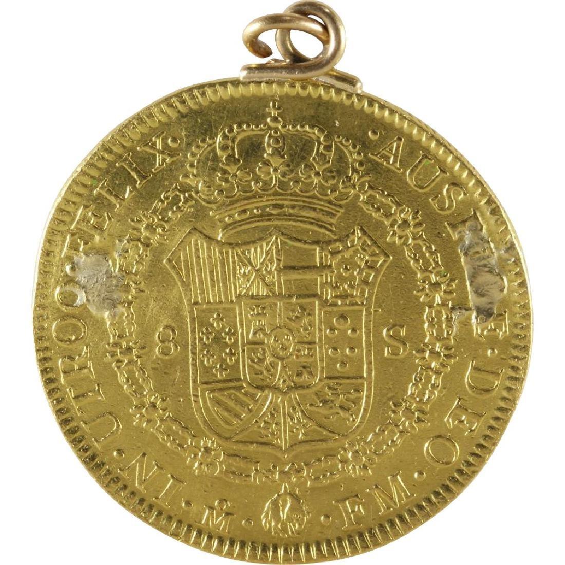 Doubloon Gold Coin Pendant   1772 Eight Escudos  