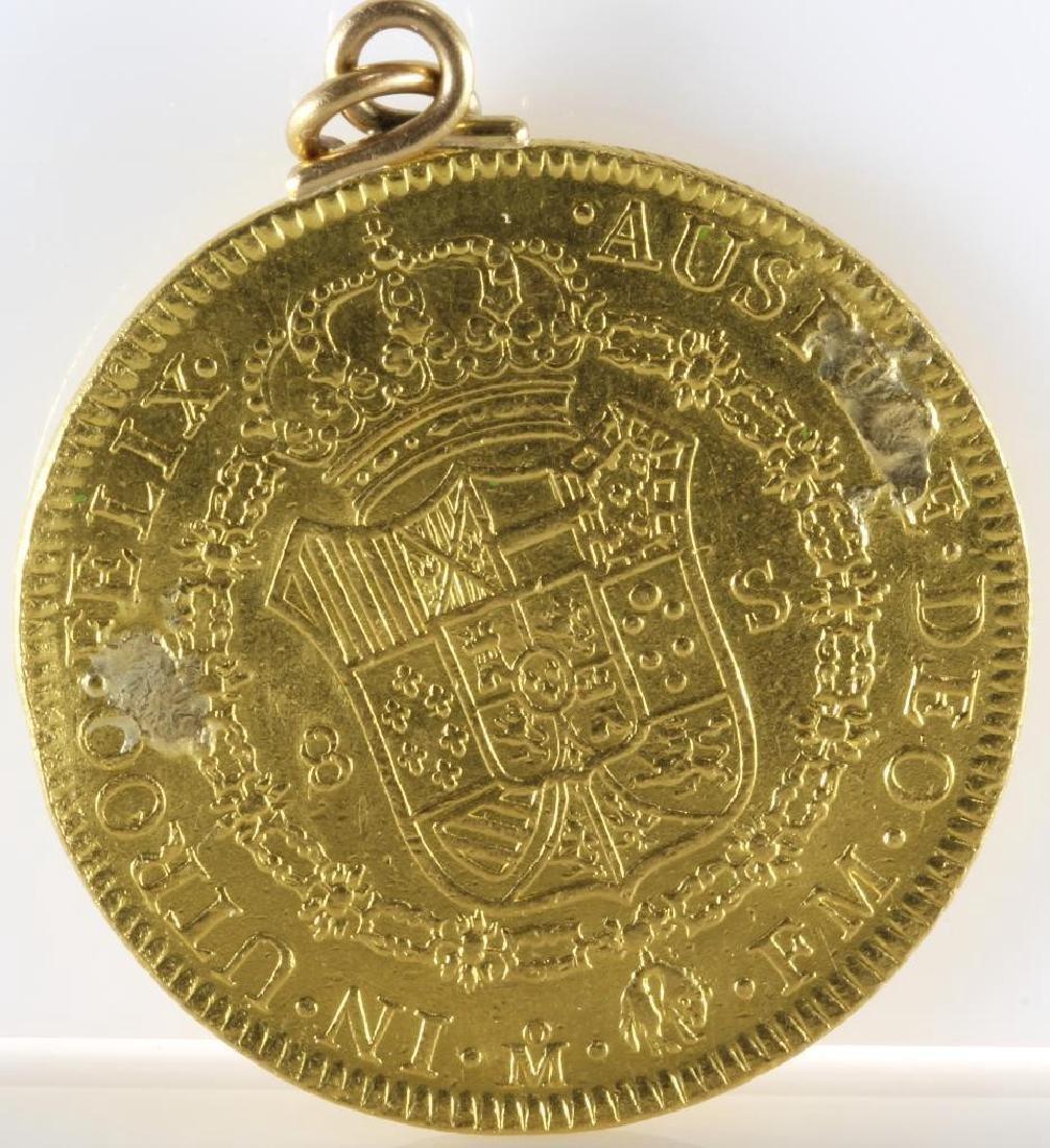 Doubloon Gold Coin Pendant   1772 Eight Escudos   - 2