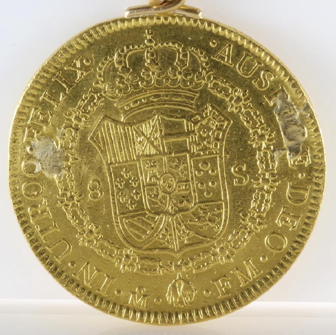 Doubloon Gold Coin Pendant   1772 Eight Escudos   - 4