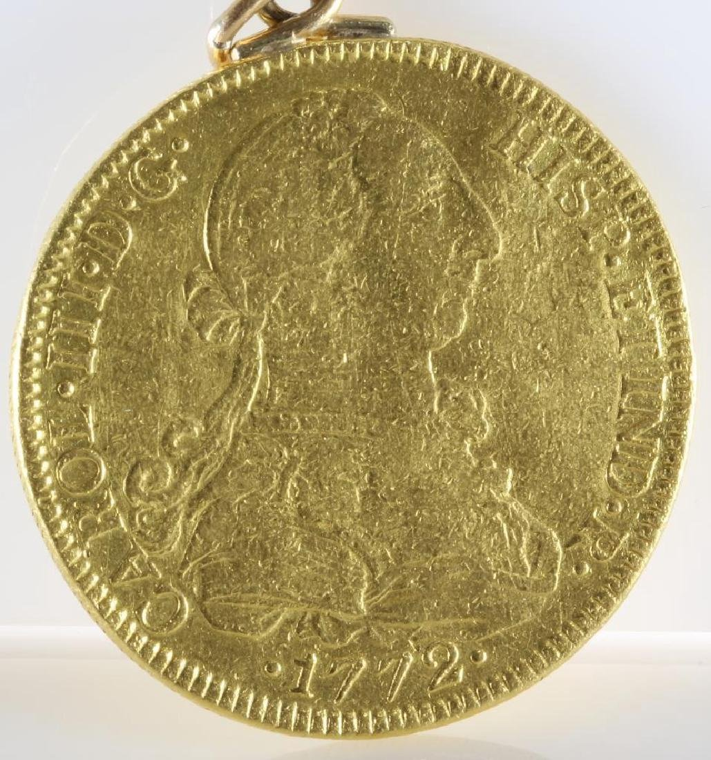 Doubloon Gold Coin Pendant   1772 Eight Escudos   - 5