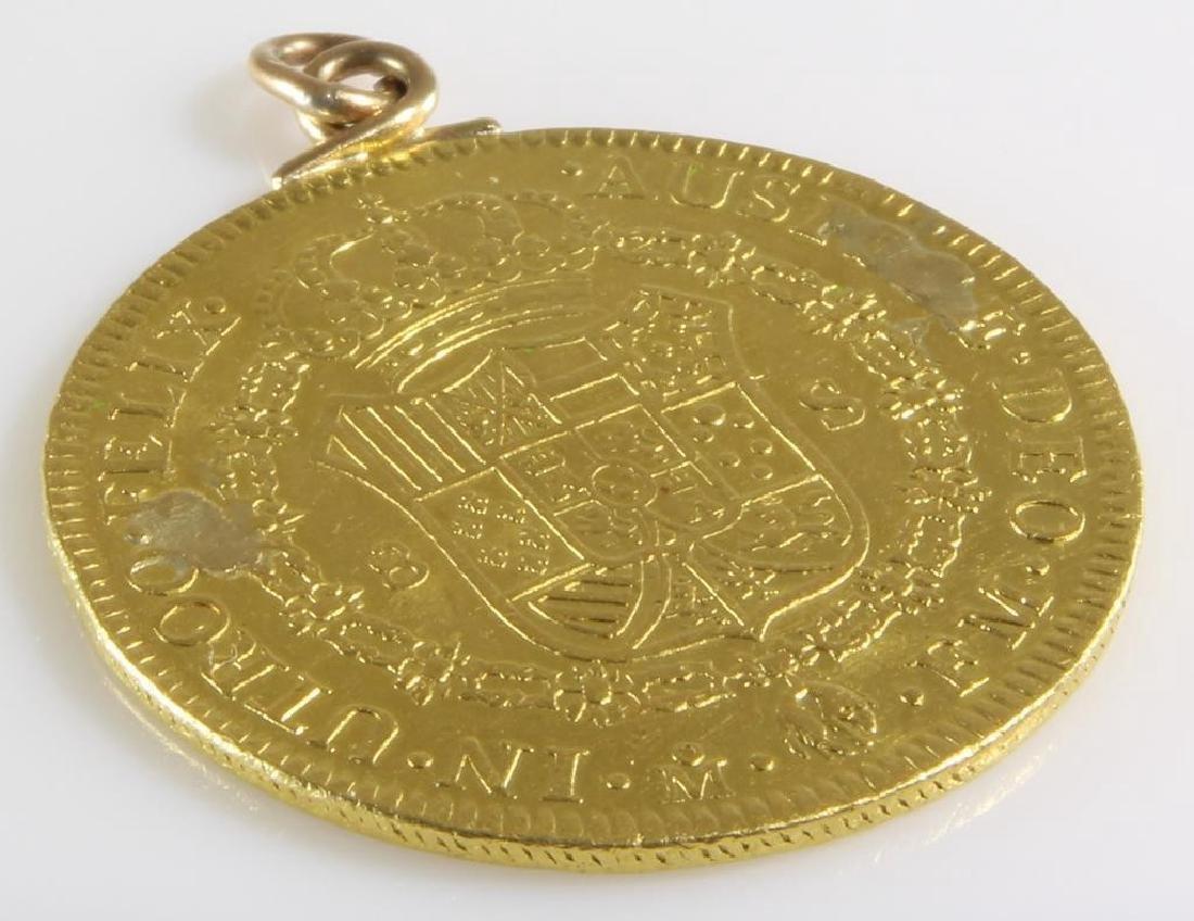 Doubloon Gold Coin Pendant   1772 Eight Escudos   - 6