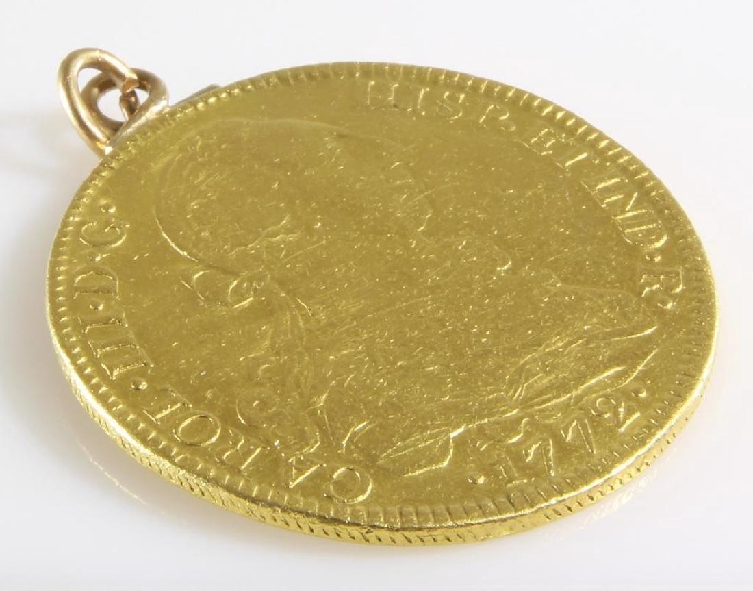 Doubloon Gold Coin Pendant   1772 Eight Escudos   - 7