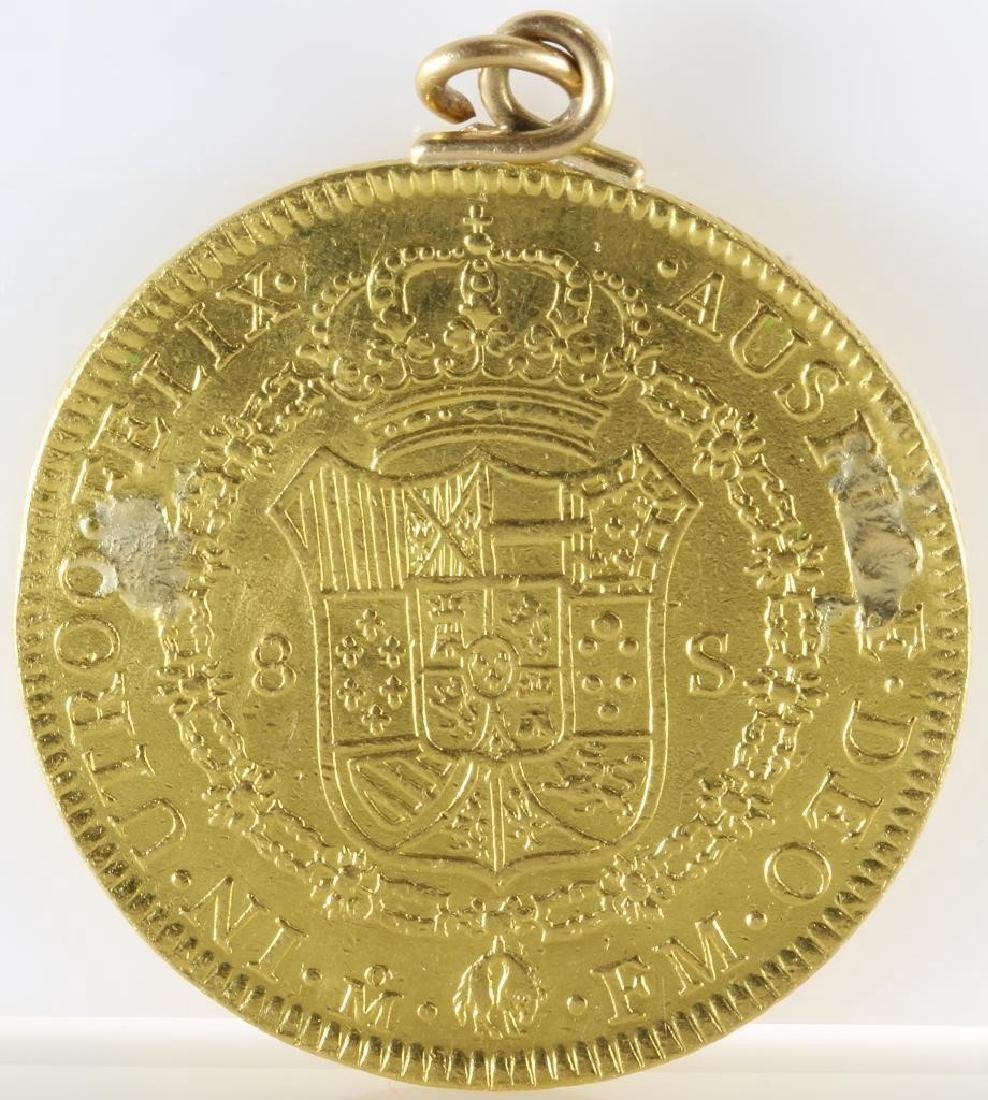 Doubloon Gold Coin Pendant   1772 Eight Escudos   - 8