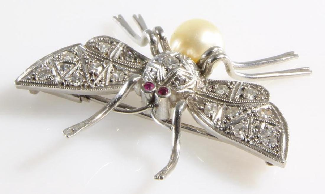 Art Deco Insect Brooch | Platinum Diamond Ruby Pearl | - 2