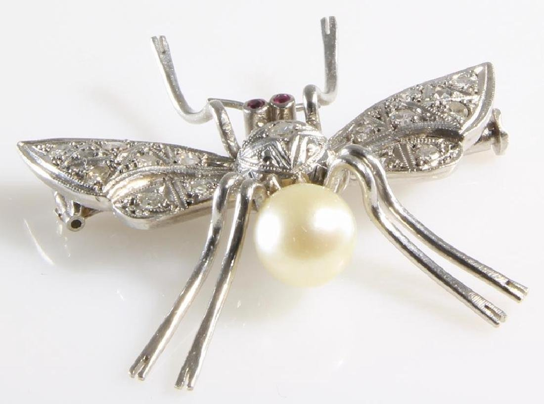 Art Deco Insect Brooch | Platinum Diamond Ruby Pearl | - 3