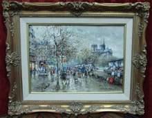 Les Bouquinistes et Notre Dame, Paris Oil on Canvas