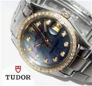Mens Rolex Oyster Date Tudor Tahitian Mop Diamond Dial