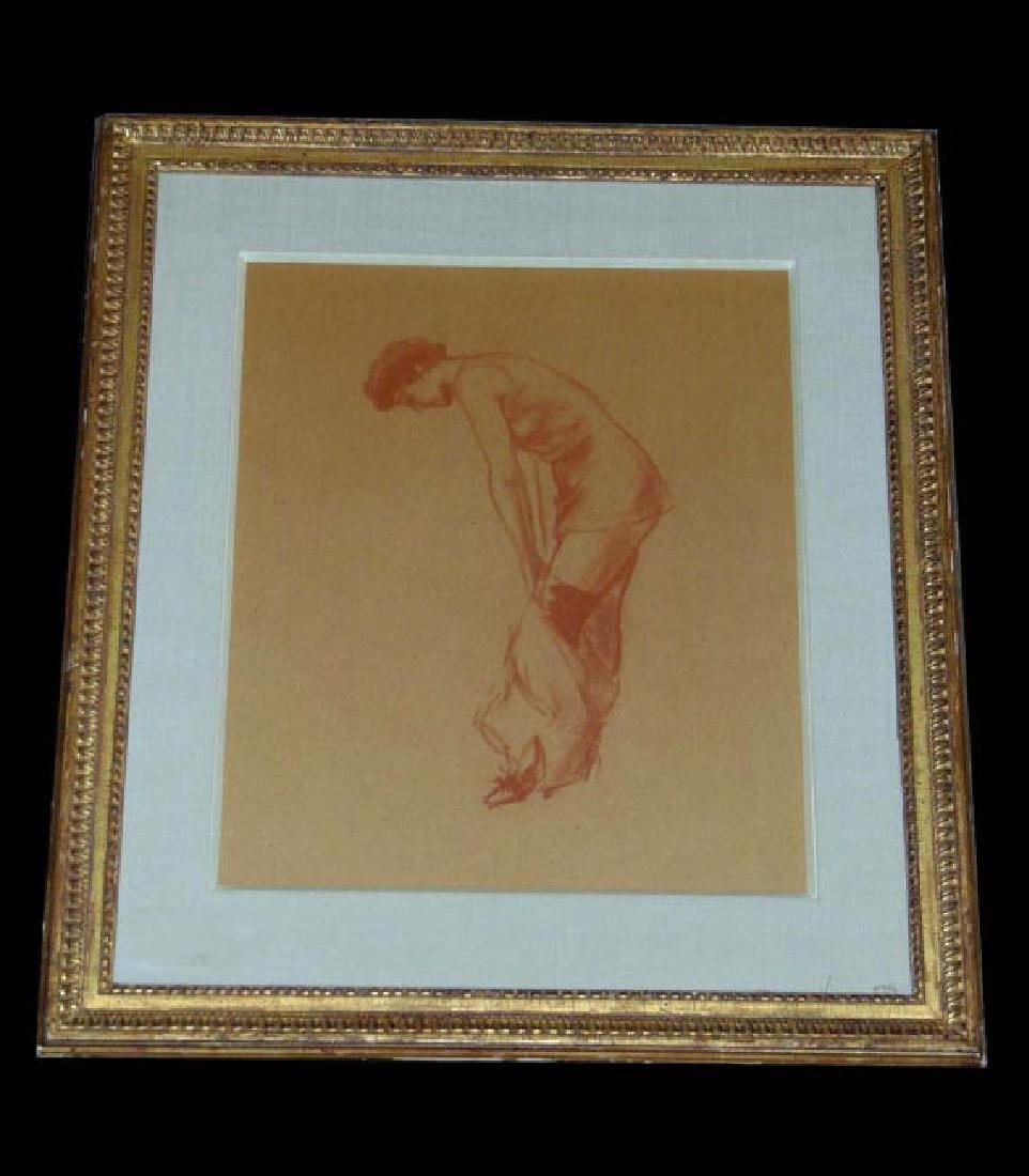 Everett Shinn Girl Undressing Red Chalk on Paper