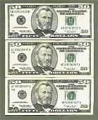 1996 (3) Ulysses Grant Fifty Dollar Bill US Currency