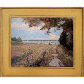 Summer Impressionist Coastal Scene With Boaters
