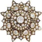 Victorian Diamond Pearl Brooch | 9K Gold Star | Antique