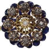 Victorian Diamond Pendant Brooch | 15K Gold Silver |