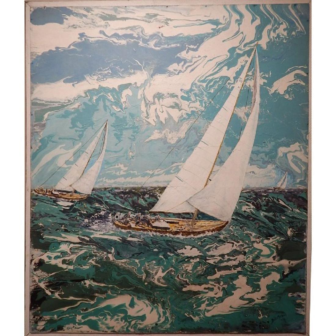 Florida Modern Sailboat Racing Painting Signed Bill