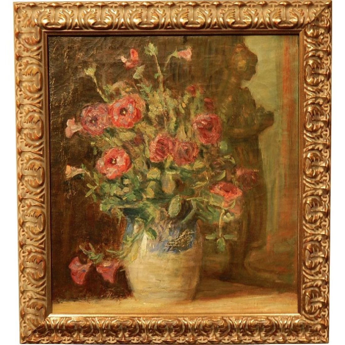 Antique Floral Still Life Oil Painting Signed Carlsund