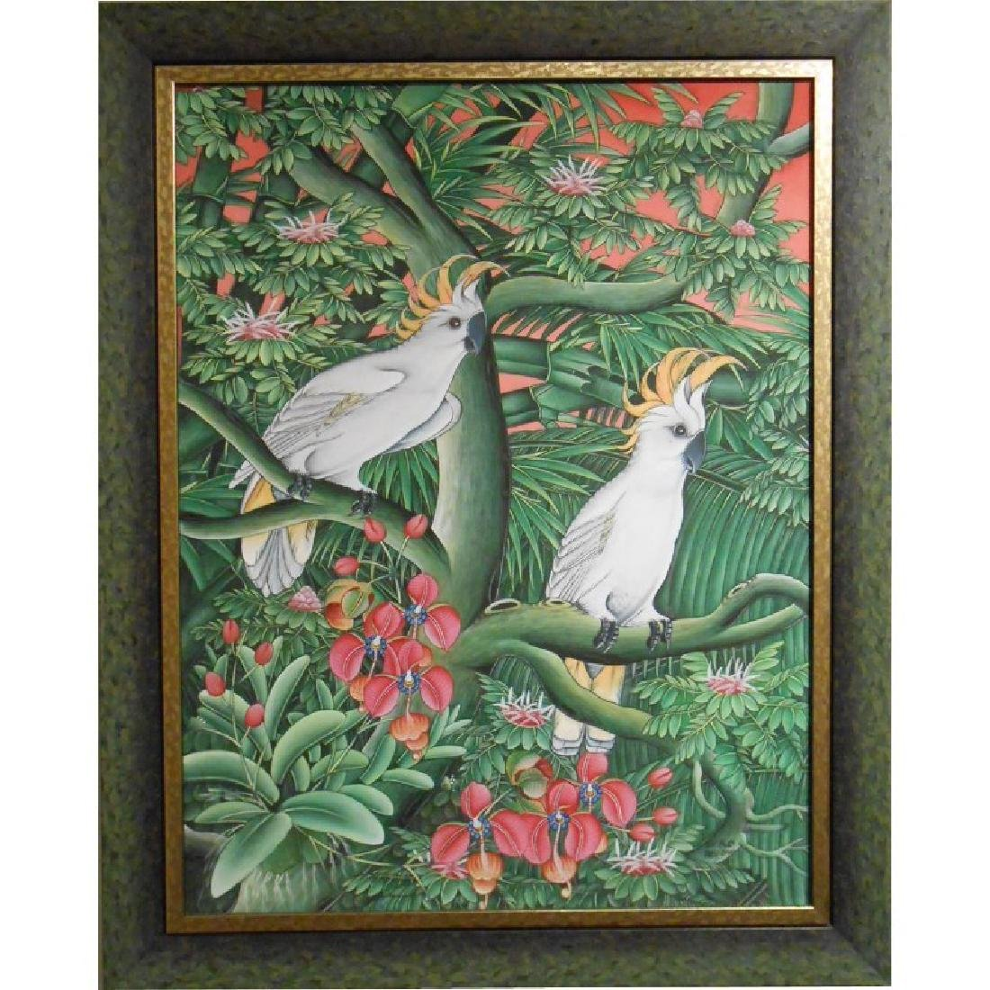 Tropical Birds And Flowers Oil Painting