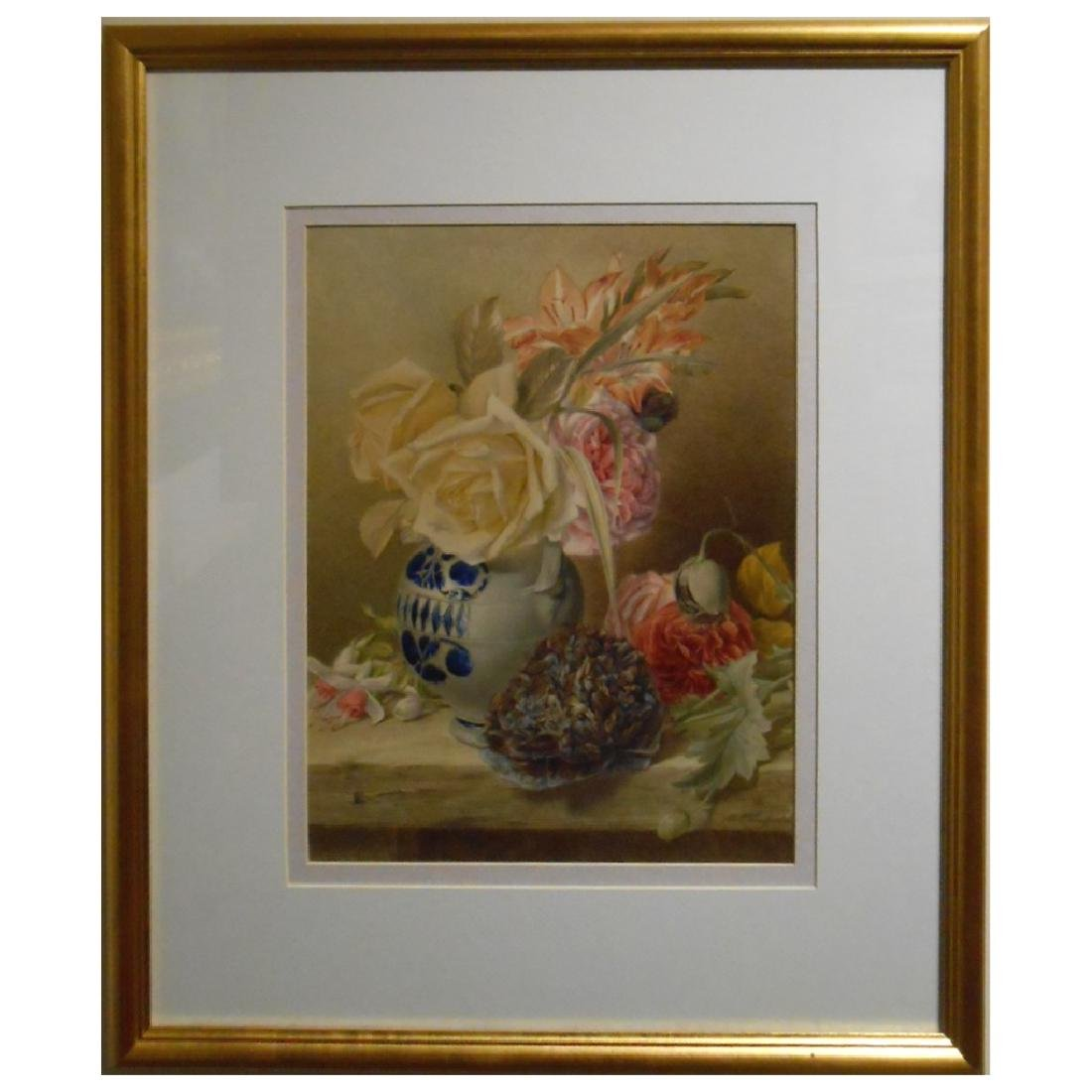 Antique Floral Still Life By Mary Elizabeth Duffield