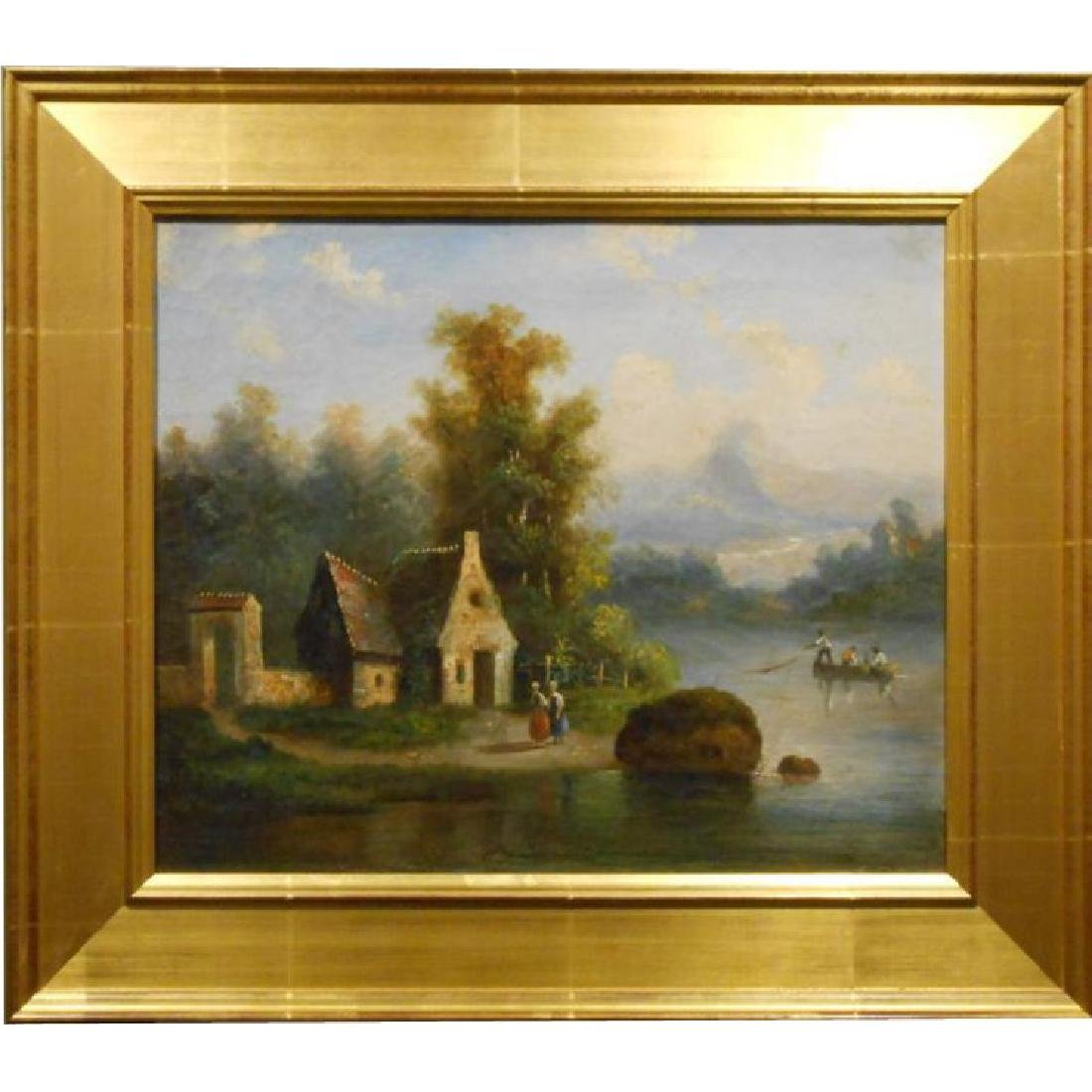 Antique Continental School Oil Painting with Fishermen