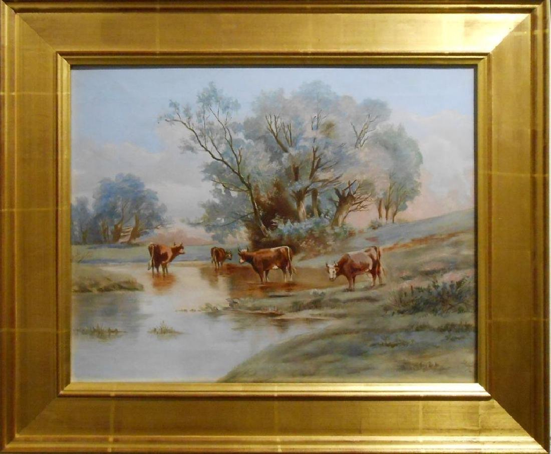 Blue Day With Cows 1920's Oil Painting