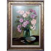 Mid-Century Oil Still Life Floral Painting Signed