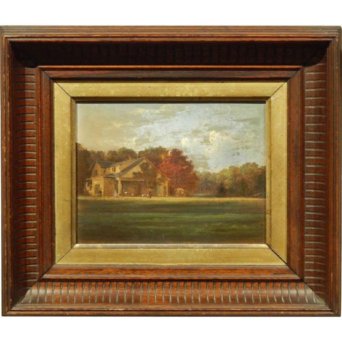 1870's New England Homestead Oil Painting In Walnut