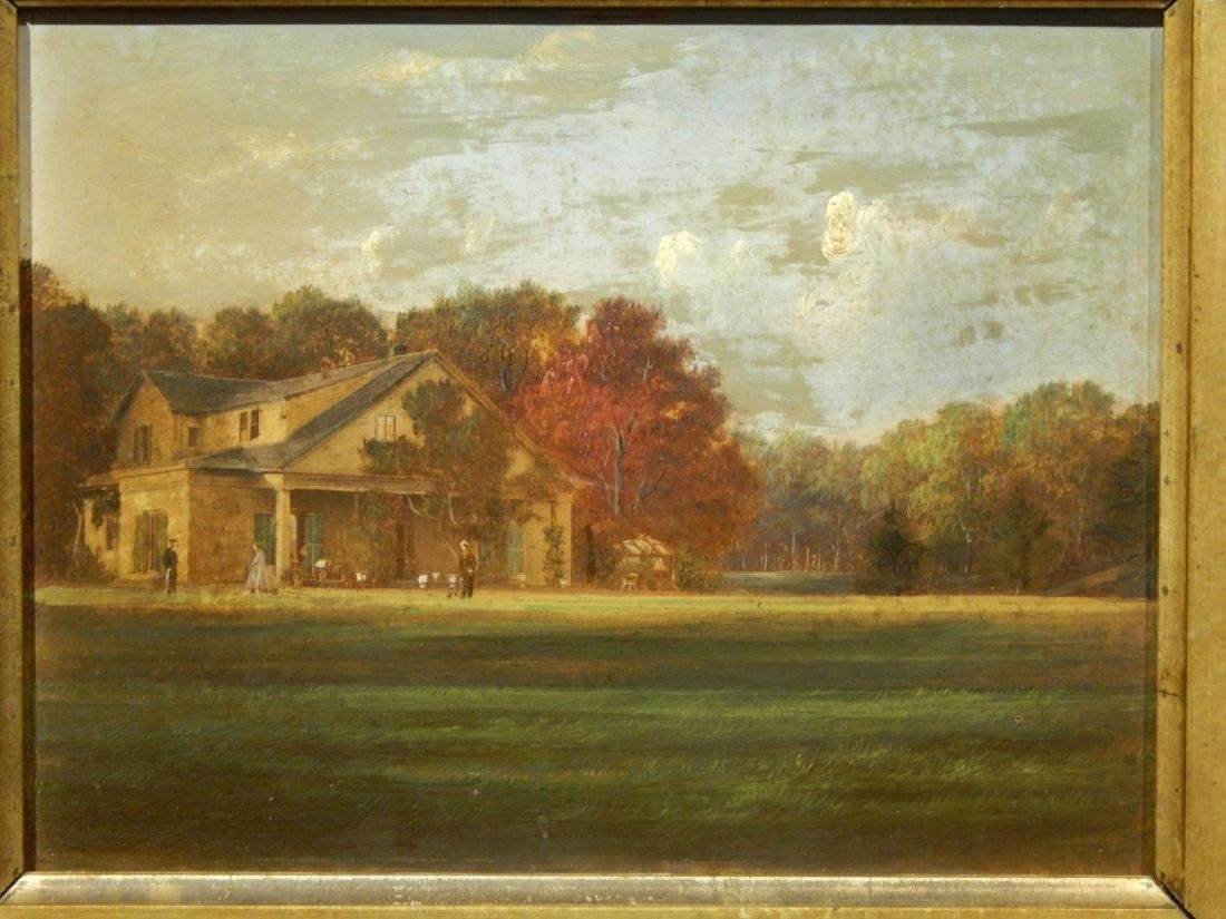 1870's New England Homestead Oil Painting In Walnut - 2