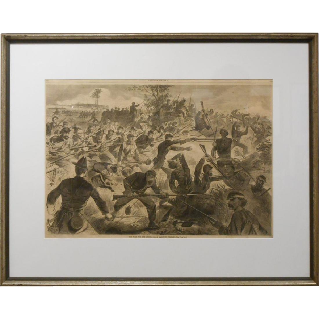 Winslow Homer Civil War Engraving Bayonet Charge 1862