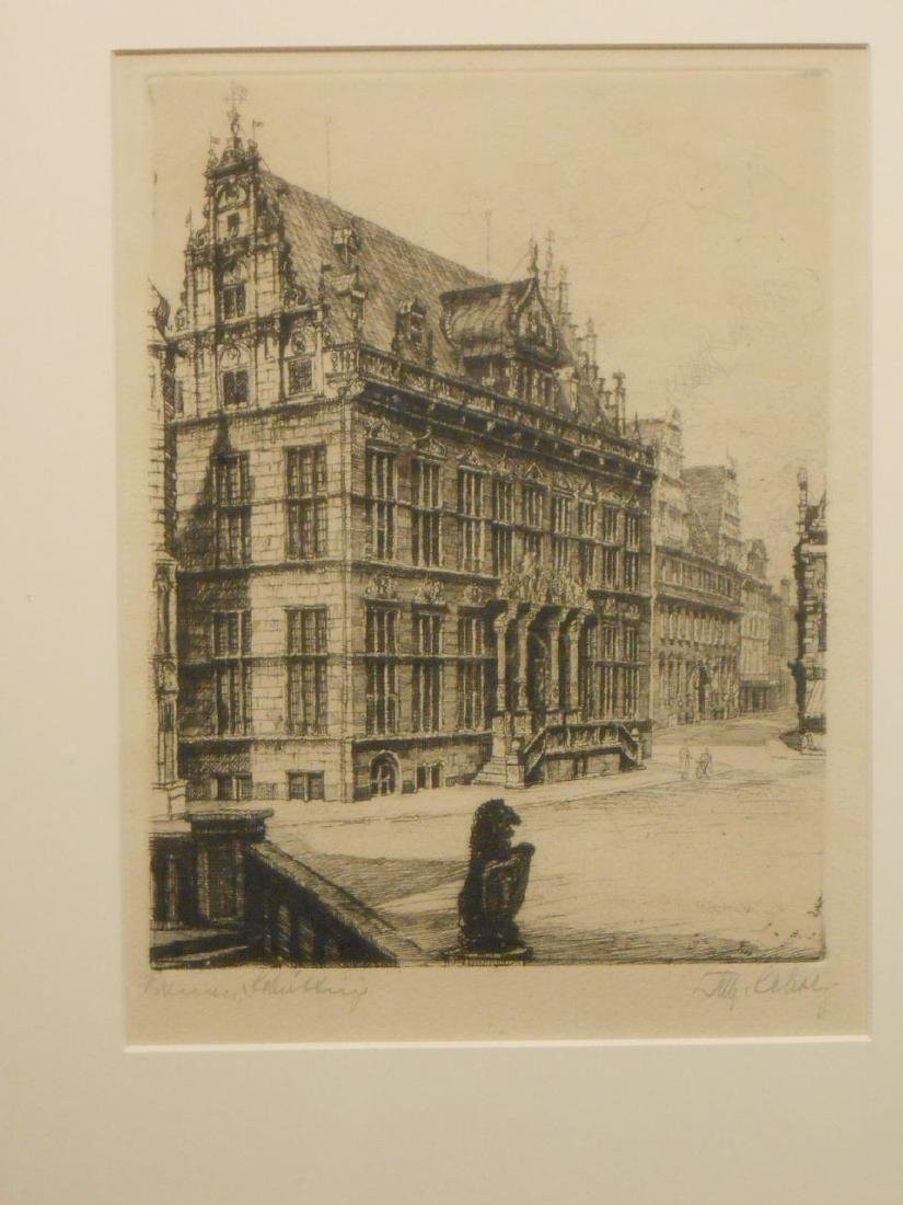 1953 Etching Of Bremen Germany - 2