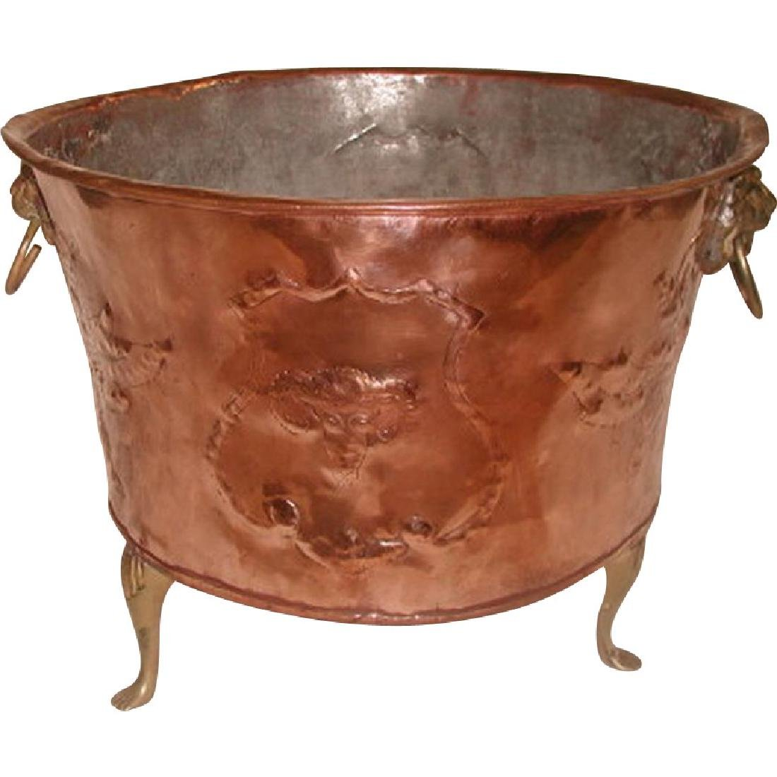 Planter Fireplace Hod England 19th C Hand Forged Copper