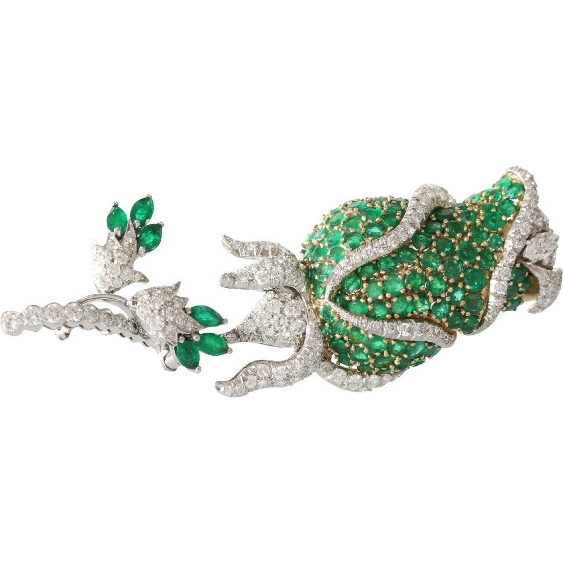 Emerald Diamond Flower Brooch   18K Bicolor Gold  