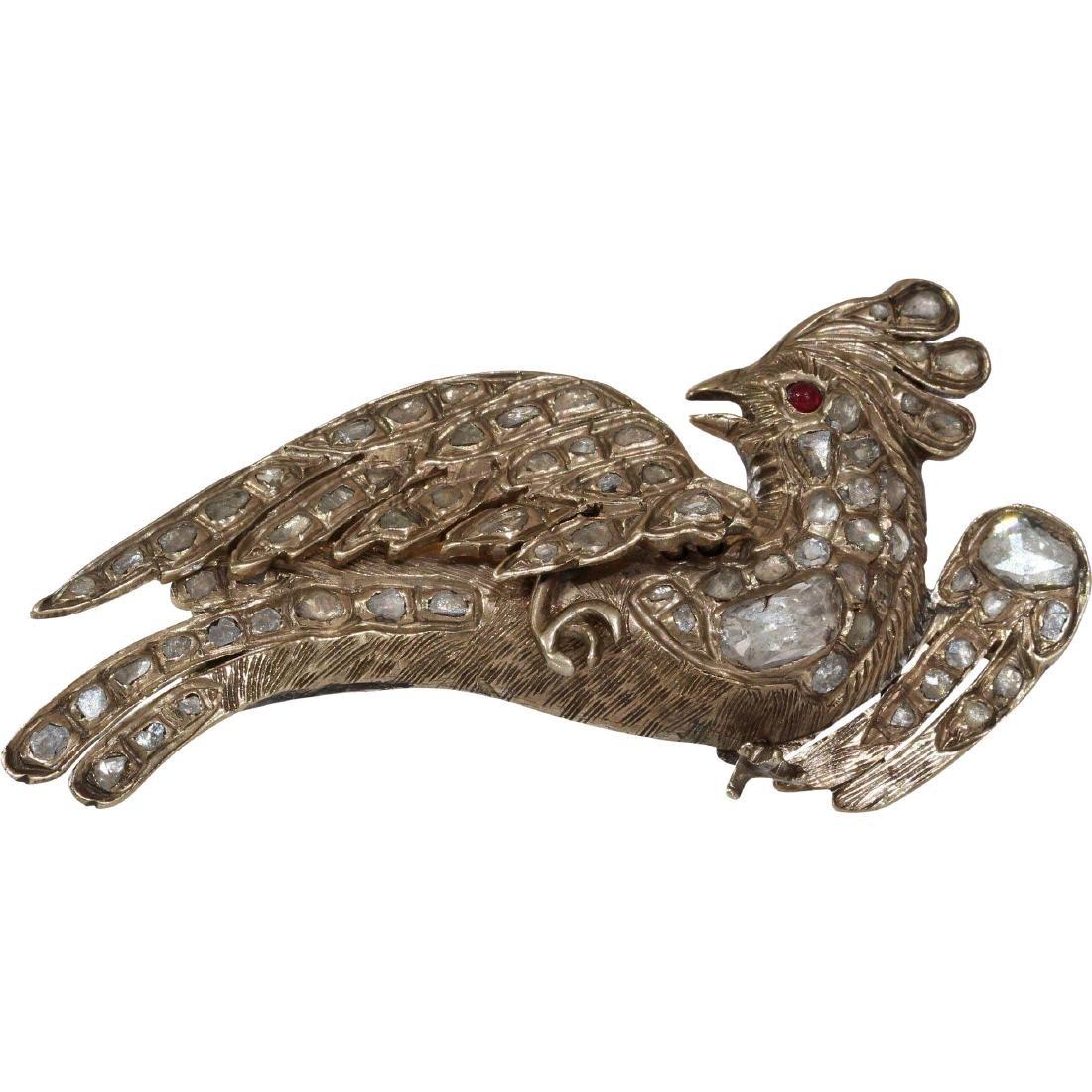 Ottoman Diamond Bird Brooch | 9K Yellow Gold | Antique