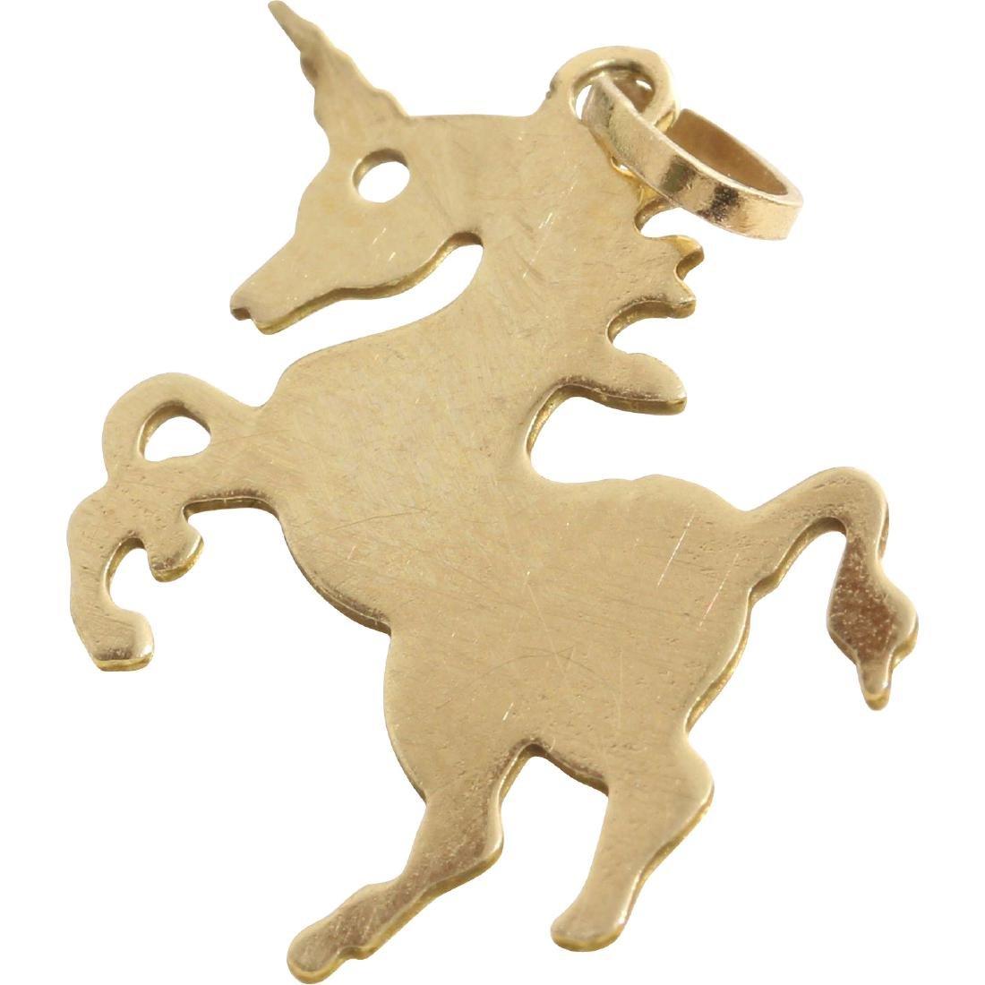 Unicorn Charm Pendant   14K Yellow Gold   Vintage Horse