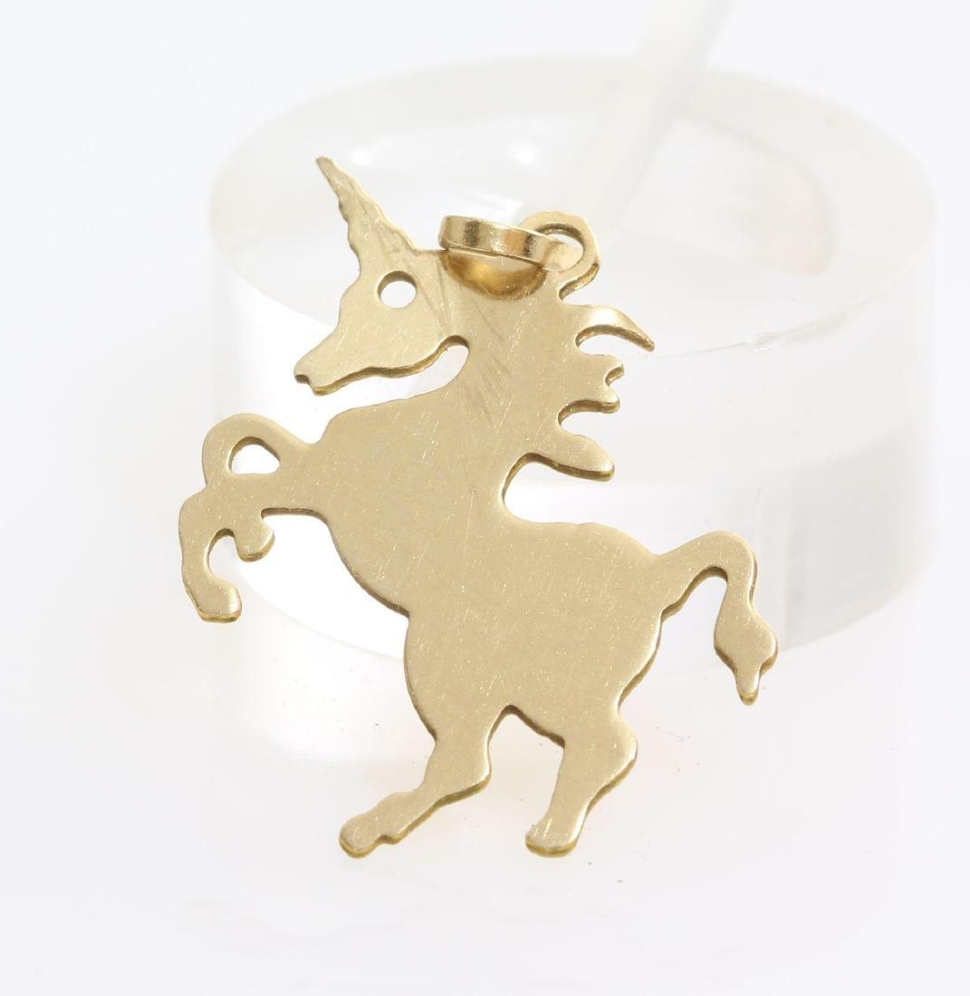 Unicorn Charm Pendant   14K Yellow Gold   Vintage Horse - 2