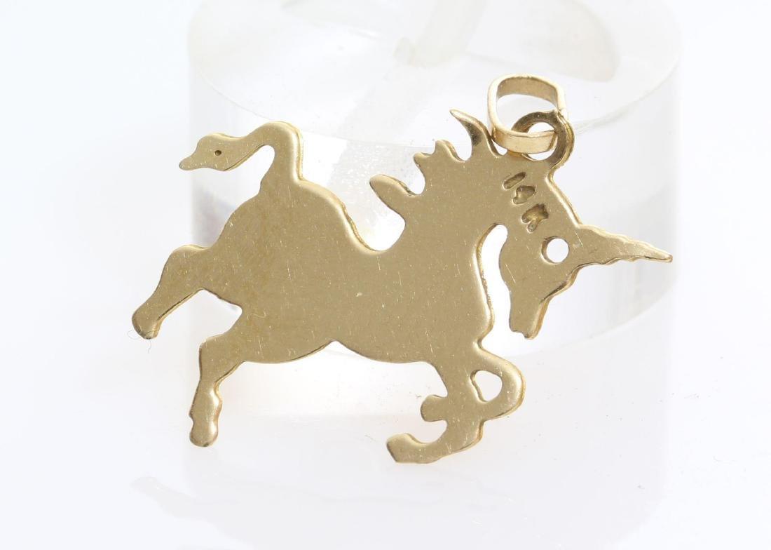 Unicorn Charm Pendant   14K Yellow Gold   Vintage Horse - 4