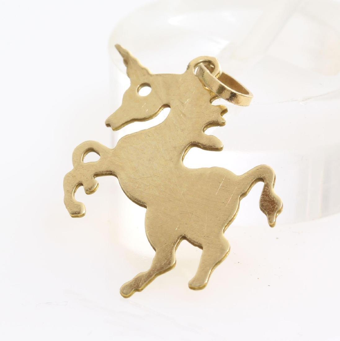 Unicorn Charm Pendant   14K Yellow Gold   Vintage Horse - 5