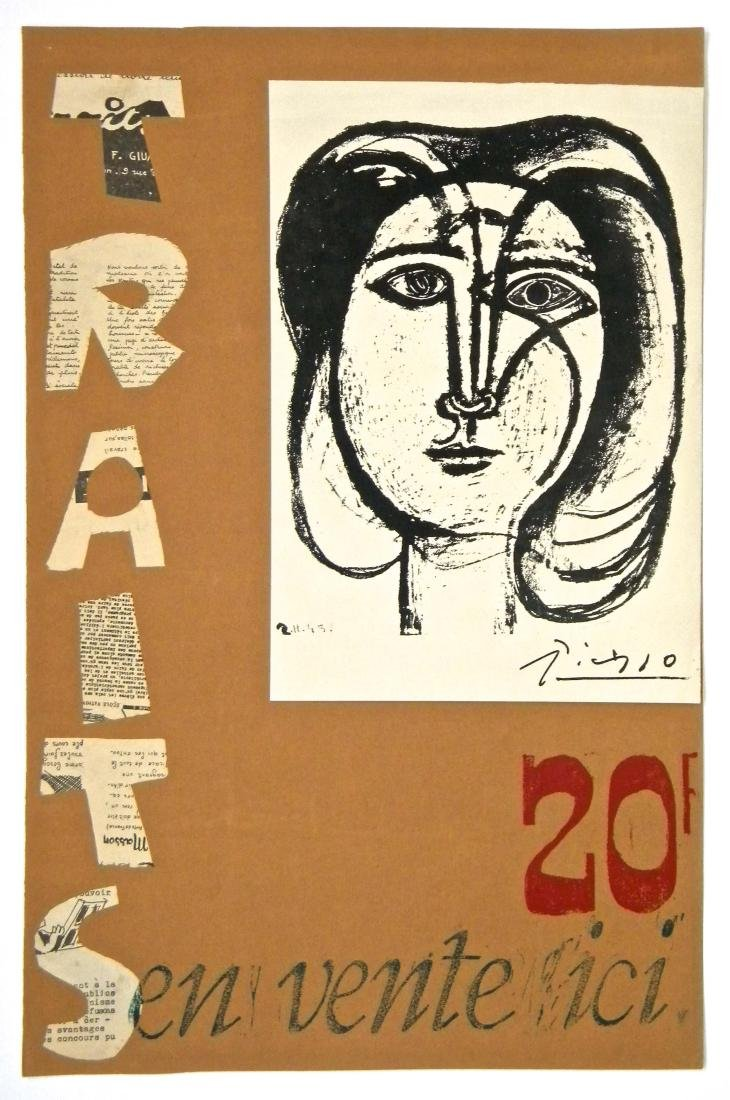 Pablo Picasso lithograph poster and collage | Traits,