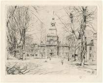 "Childe Hassam pencil-signed etching ""Independence Hall,"