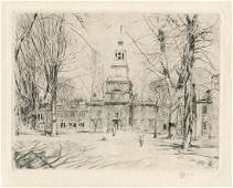 """Childe Hassam pencil-signed etching """"Independence Hall,"""