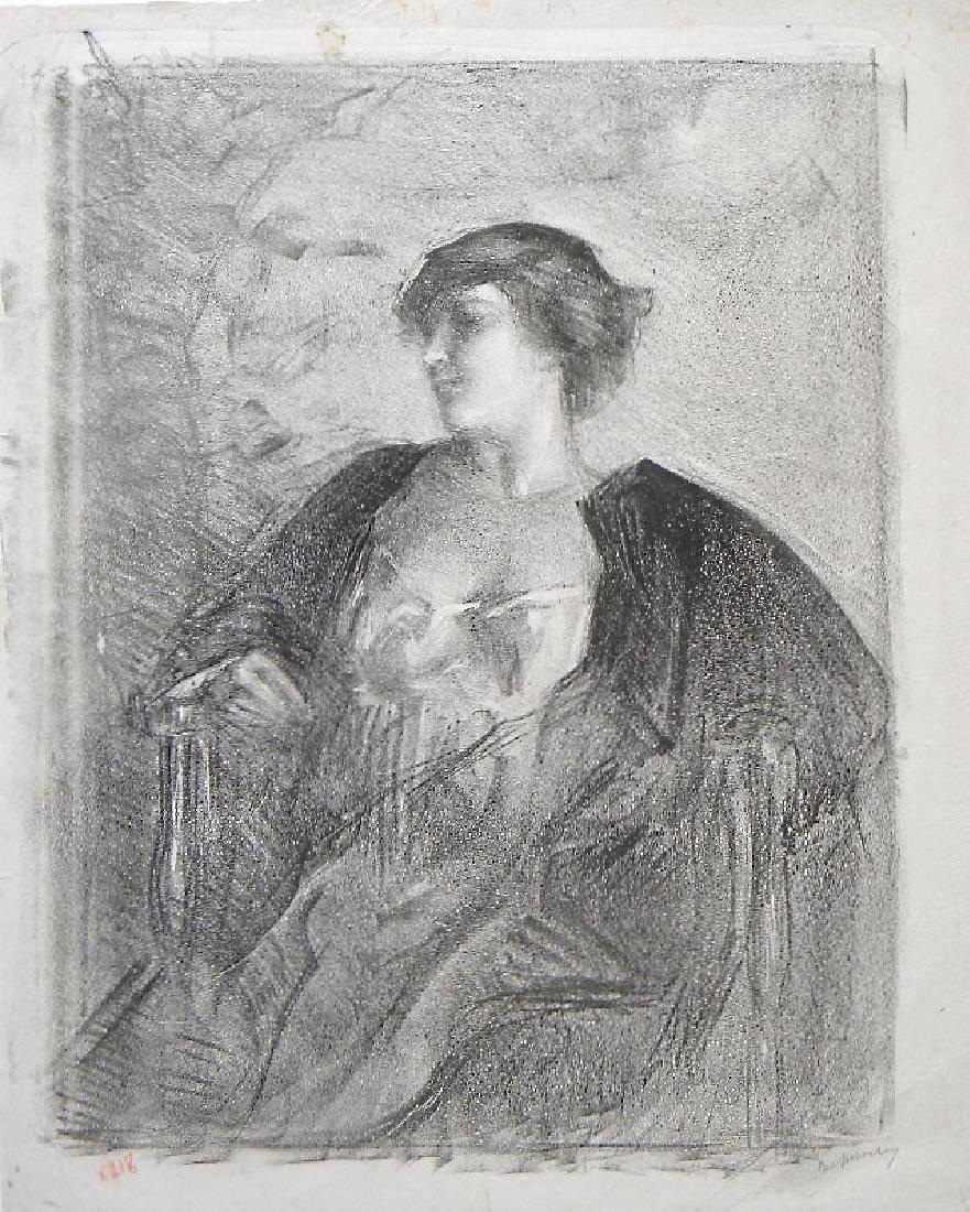 "Albert Belleroche original lithograph ""Reverie"" trial"
