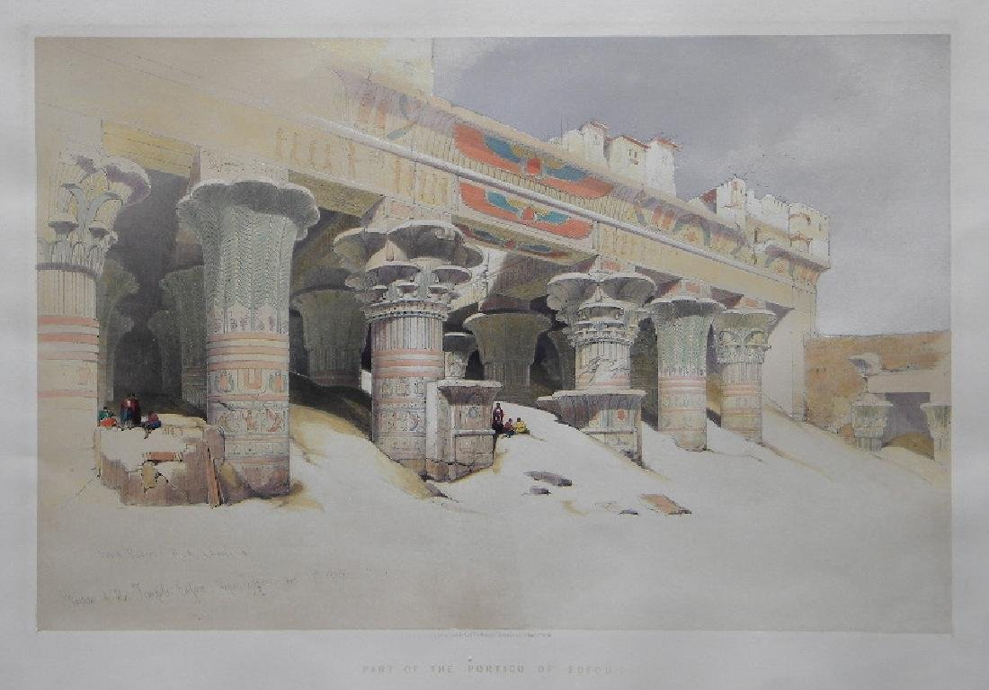 """David Roberts lithograph """"Part of the Portico of Edfou,"""