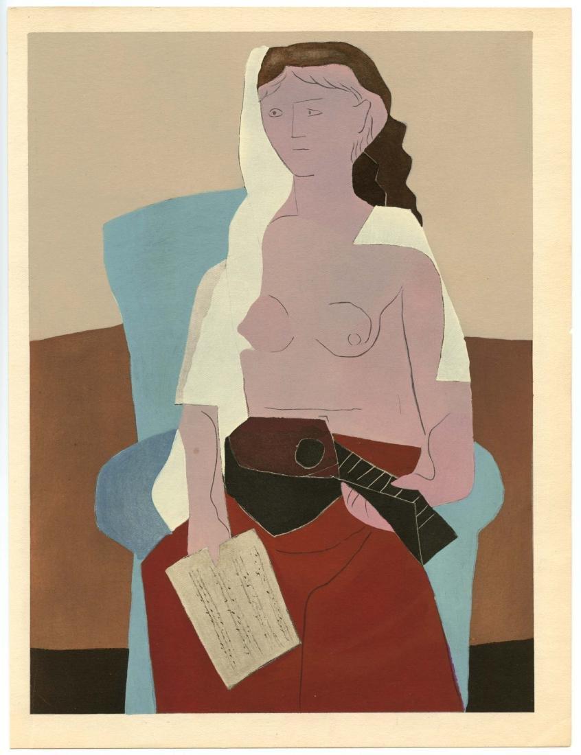 """Pablo Picasso """"Femme assise"""" color pochoir"""