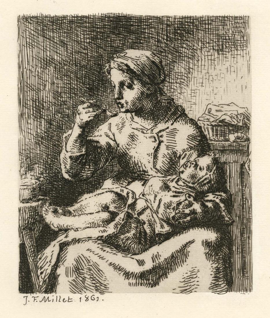 """Jean-Francois Millet original etching """"La Bouillie"""""""