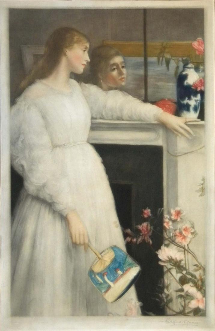 """James Whistler mezzotint """"The Little White Girl"""""""