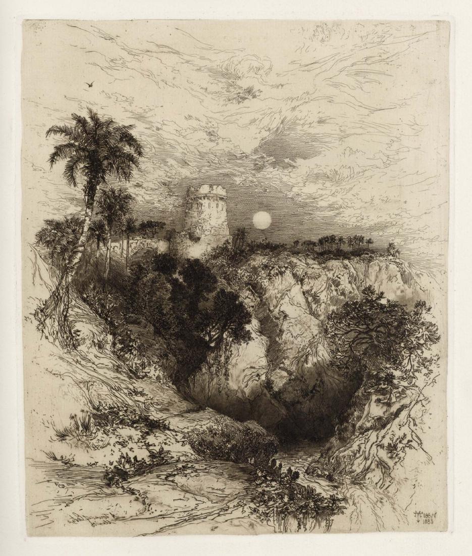 "Thomas Moran original etching ""Tower of Cortez, Mexico"""