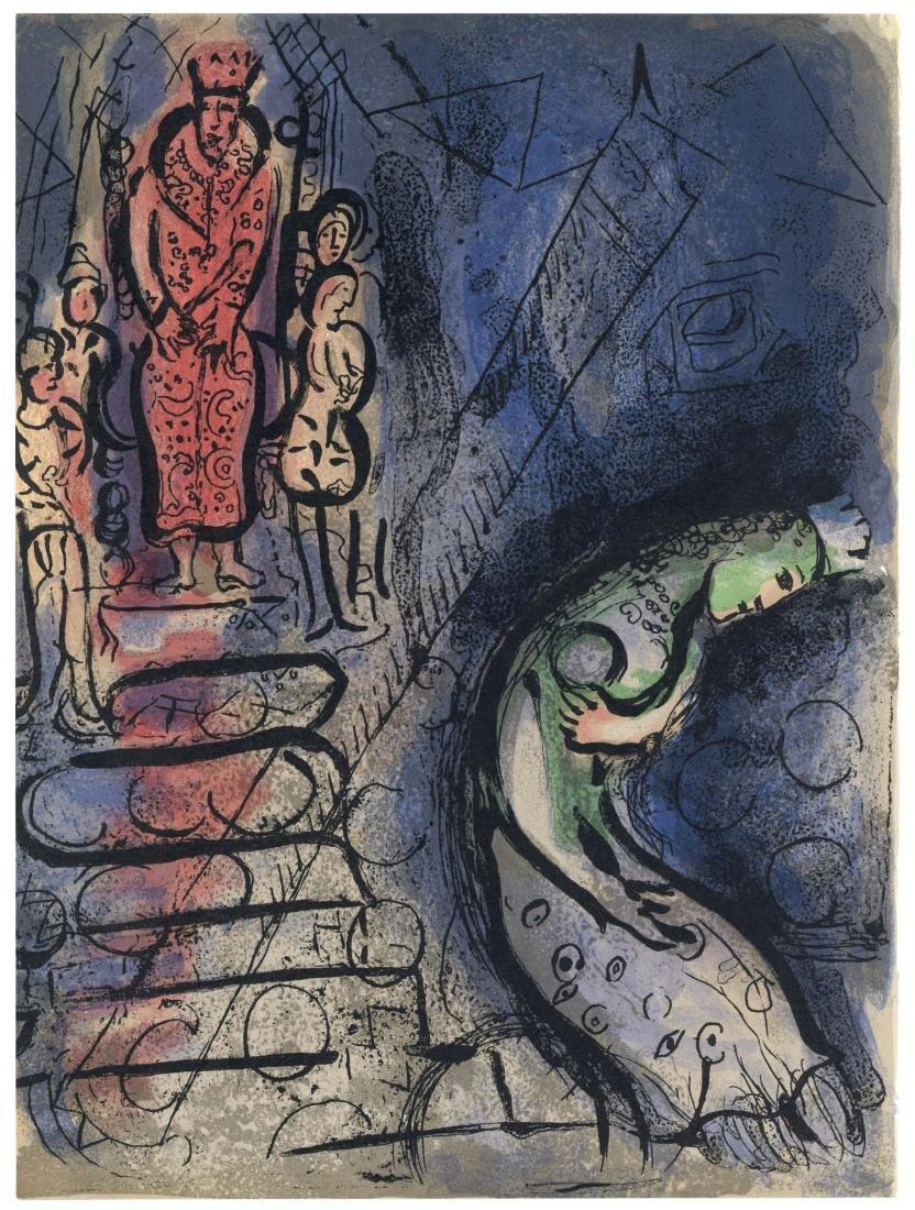 "Marc Chagall ""Ahasuerus Banishes Vashti"" original Bible"