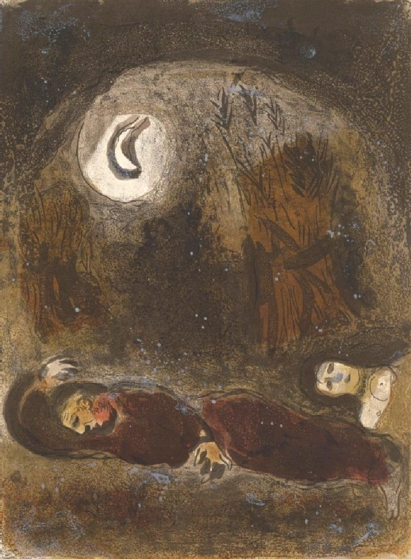 """Marc Chagall """"Ruth at the Feet of Boaz"""" original Bible"""