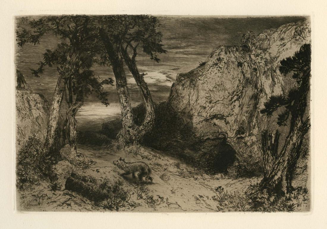 "Thomas Moran original etching ""Twilight in Arizona"""
