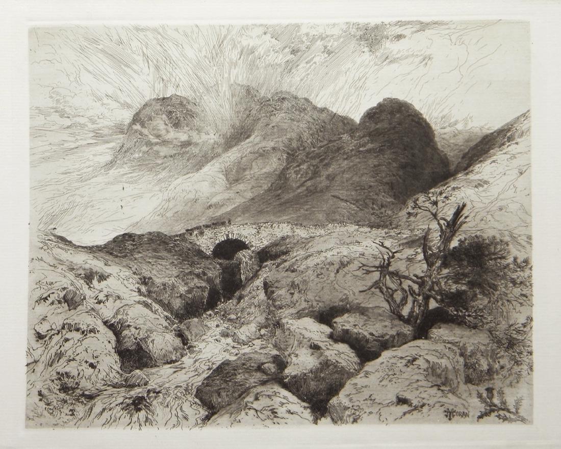 "Thomas Moran original etching ""The Pass of Glencoe,"
