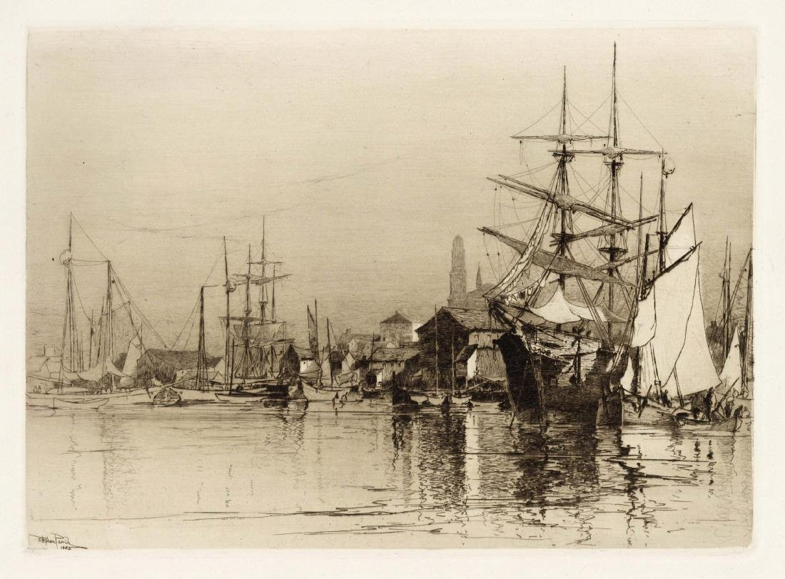 "Stephen Parrish original etching ""Inner Harbor"