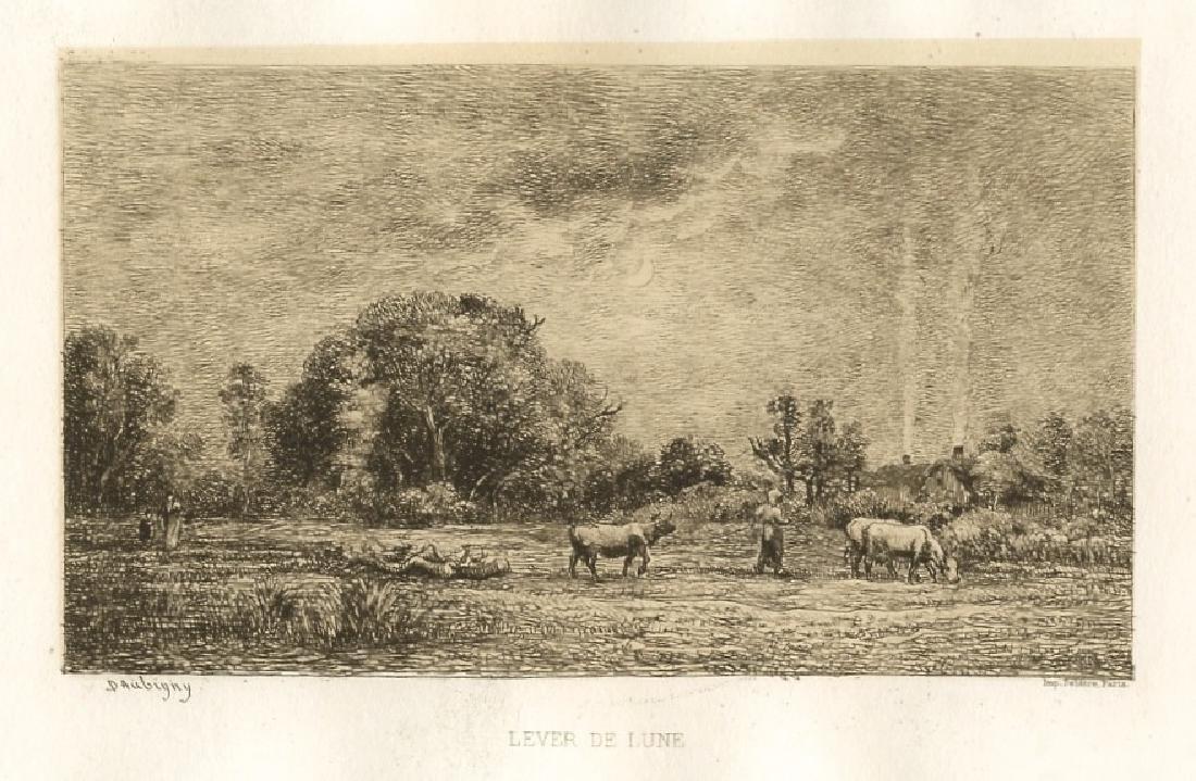 """Charles Daubigny """"Lever de Lune"""" original etching"""