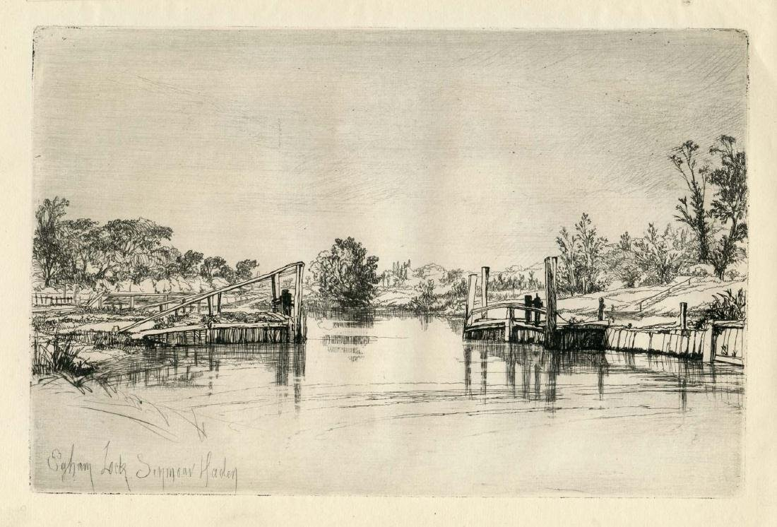 "Seymour Haden original etching ""Egham Lock"""